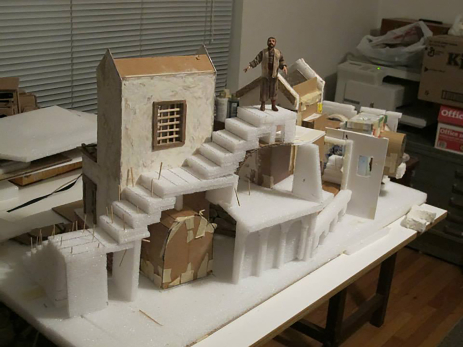Figure 4: Materials consisting of lightweight Styrofoam, cardboard, and wood are used to create the structures.