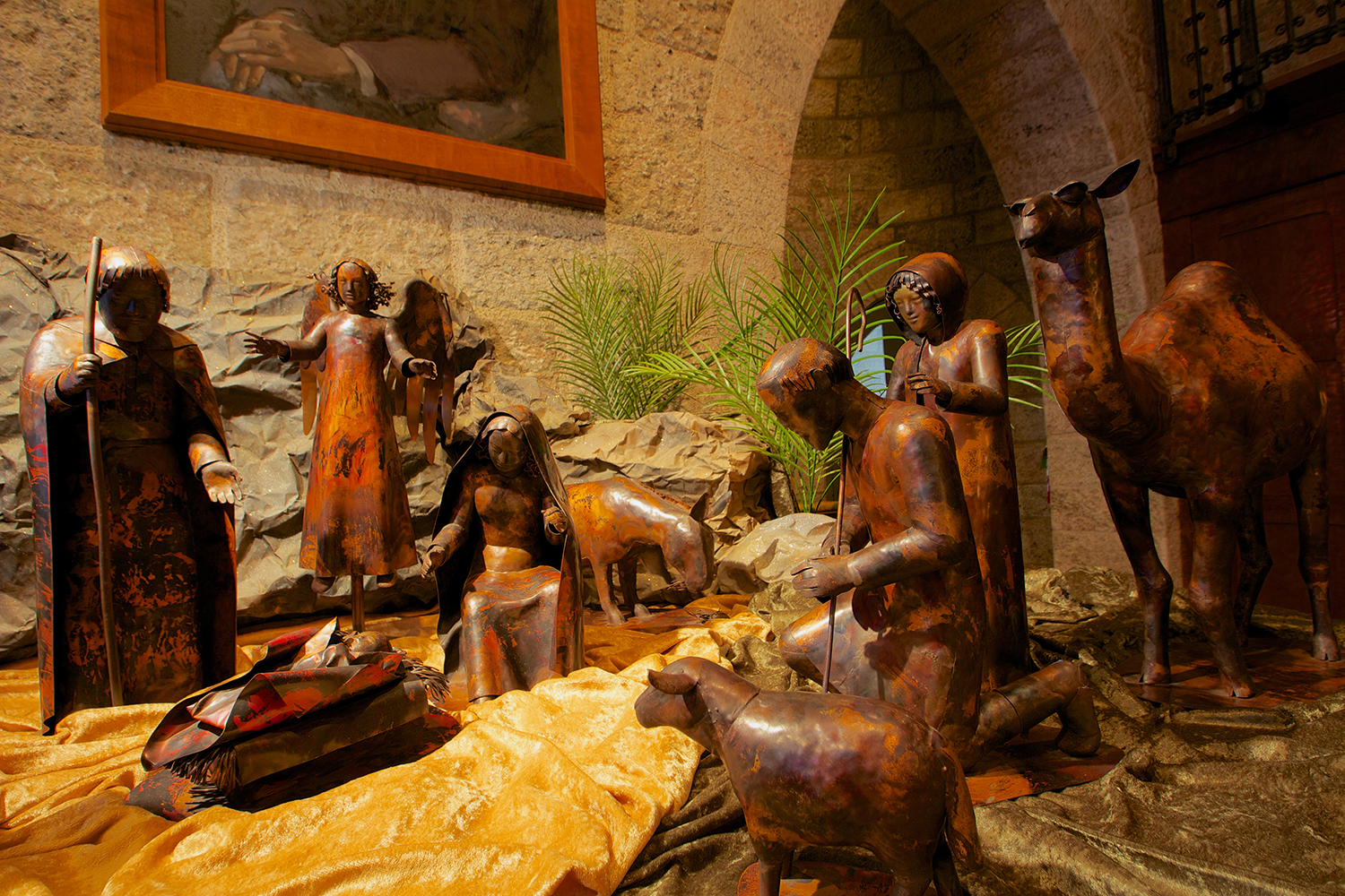 Hammered-Copper Nativity by Mary Eldredge: Mepkin Abbey Collection.
