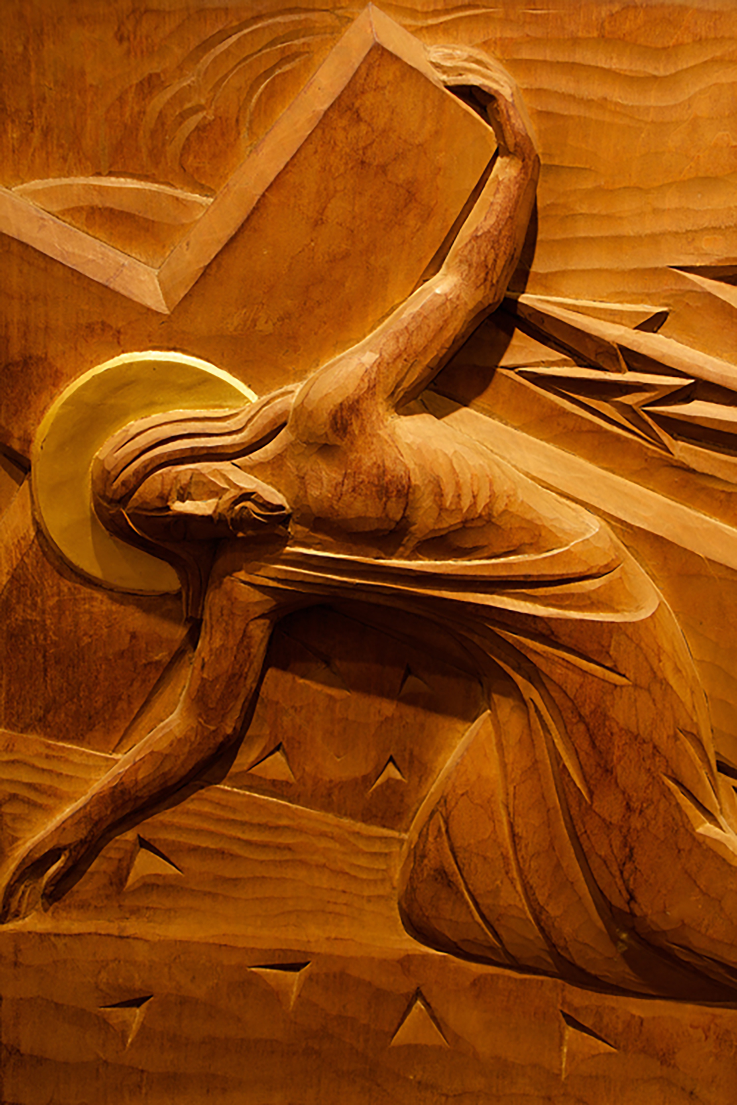 Station VII: Jesus Falls the Second Time; carved wood, St. Timothy's Episcopal Church.