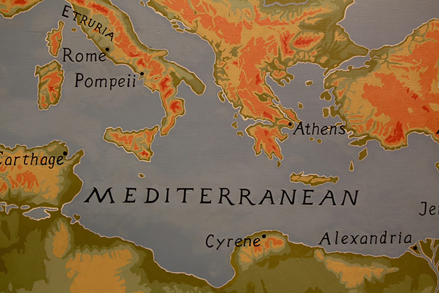Figure 9: Map Showing Cyrene, Athens, and Rome.