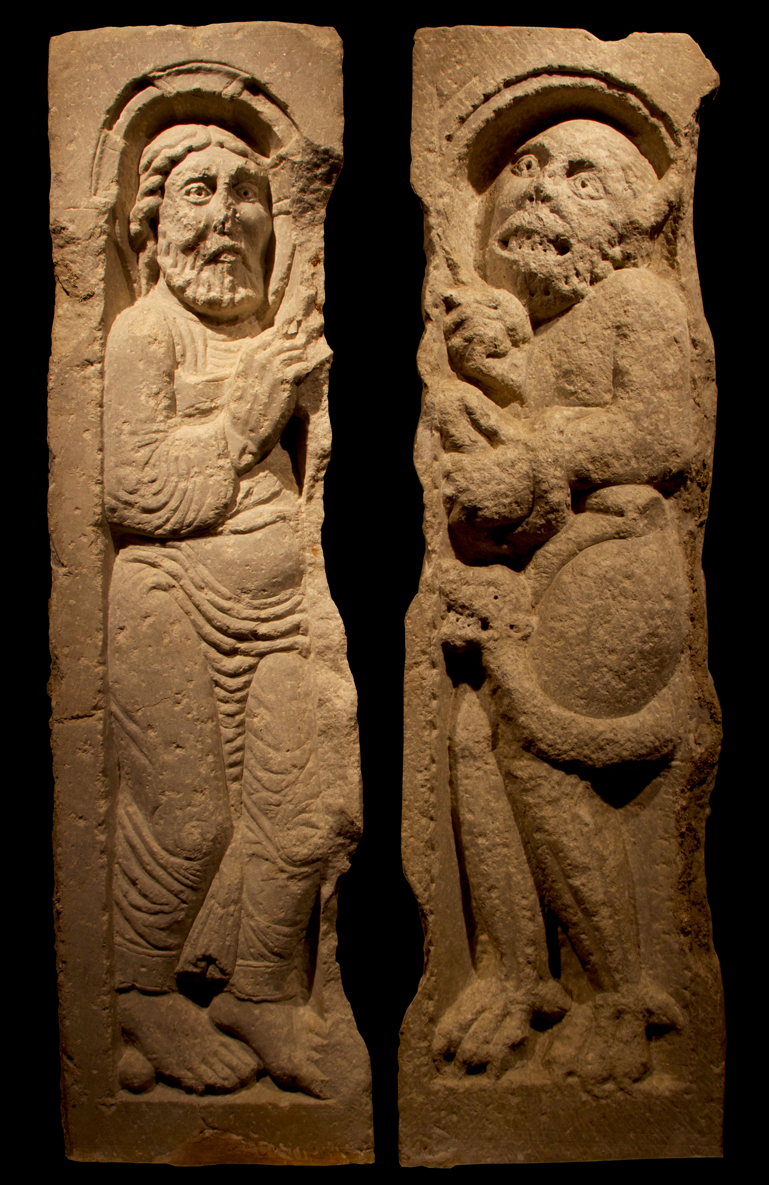 Two twelfth-century marble reliefs depicting the Temptation of Christ.