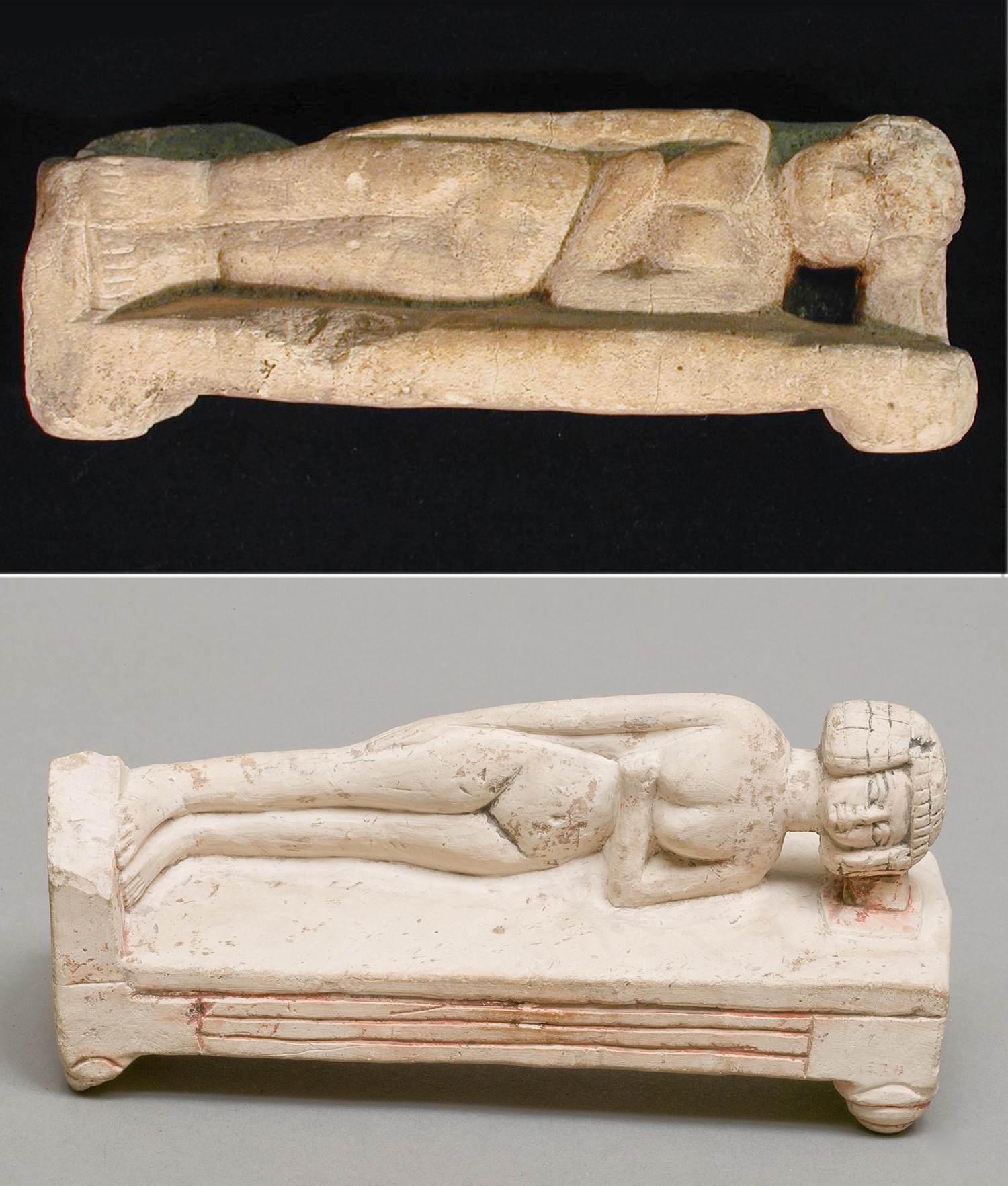 Figure 17:Similar limestone figures in the collection of Penn Museum (top, UPMAA 29-75-429) and the Metropolitan Museum of Art in New York (Rogers Fund, 1915, 15.2.8). Images courtesy of The University of Pennsylvania Museum of Archaeology and Anthropology and the Metropolitan Museum of Art, NYC. Note that the Egyptian bed did not have a headboard, but rather a footboard at the end of the bed.