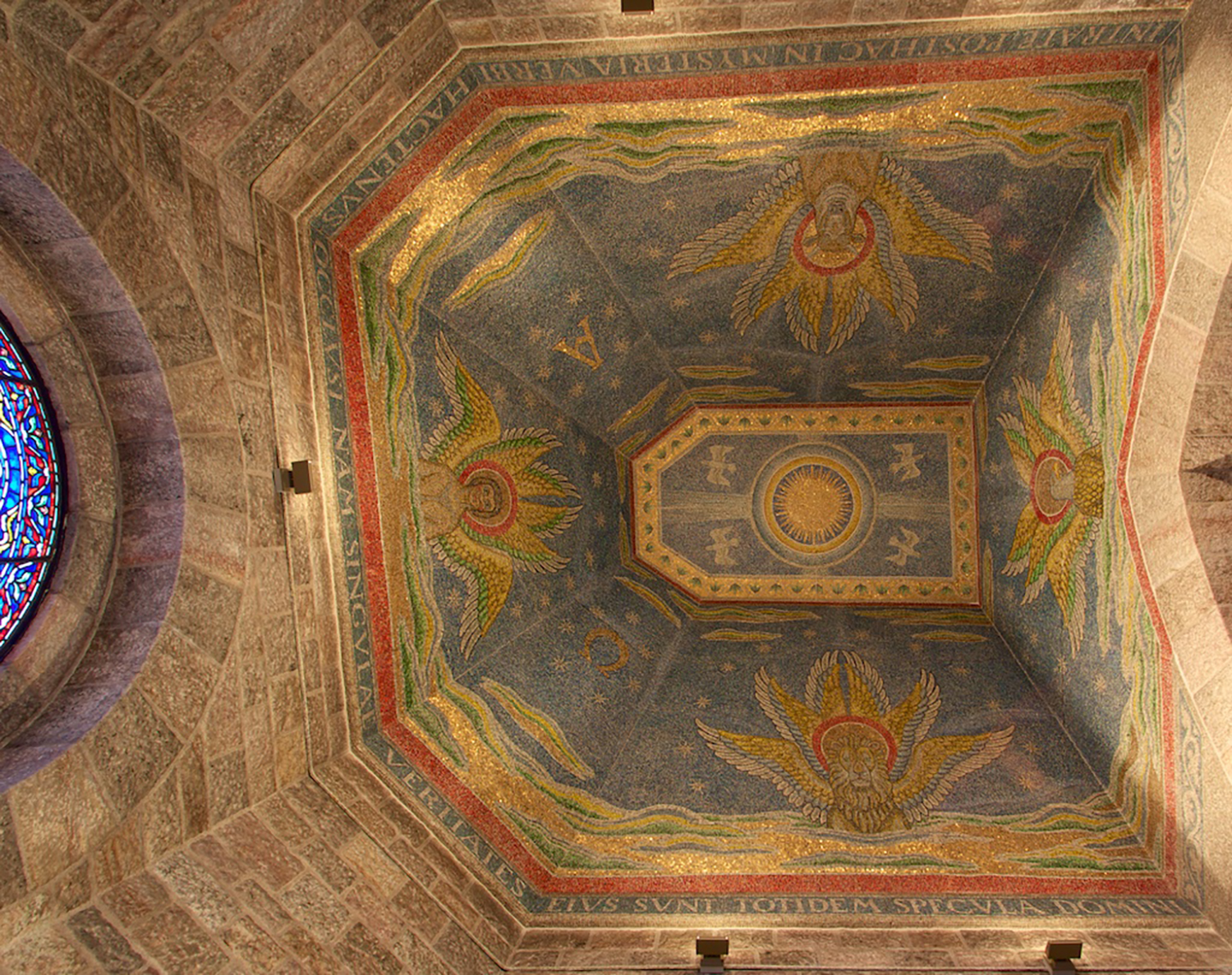 Figure 7: The chapel ceiling on the fifth floor has mosaic designs from the Book of Revelation.