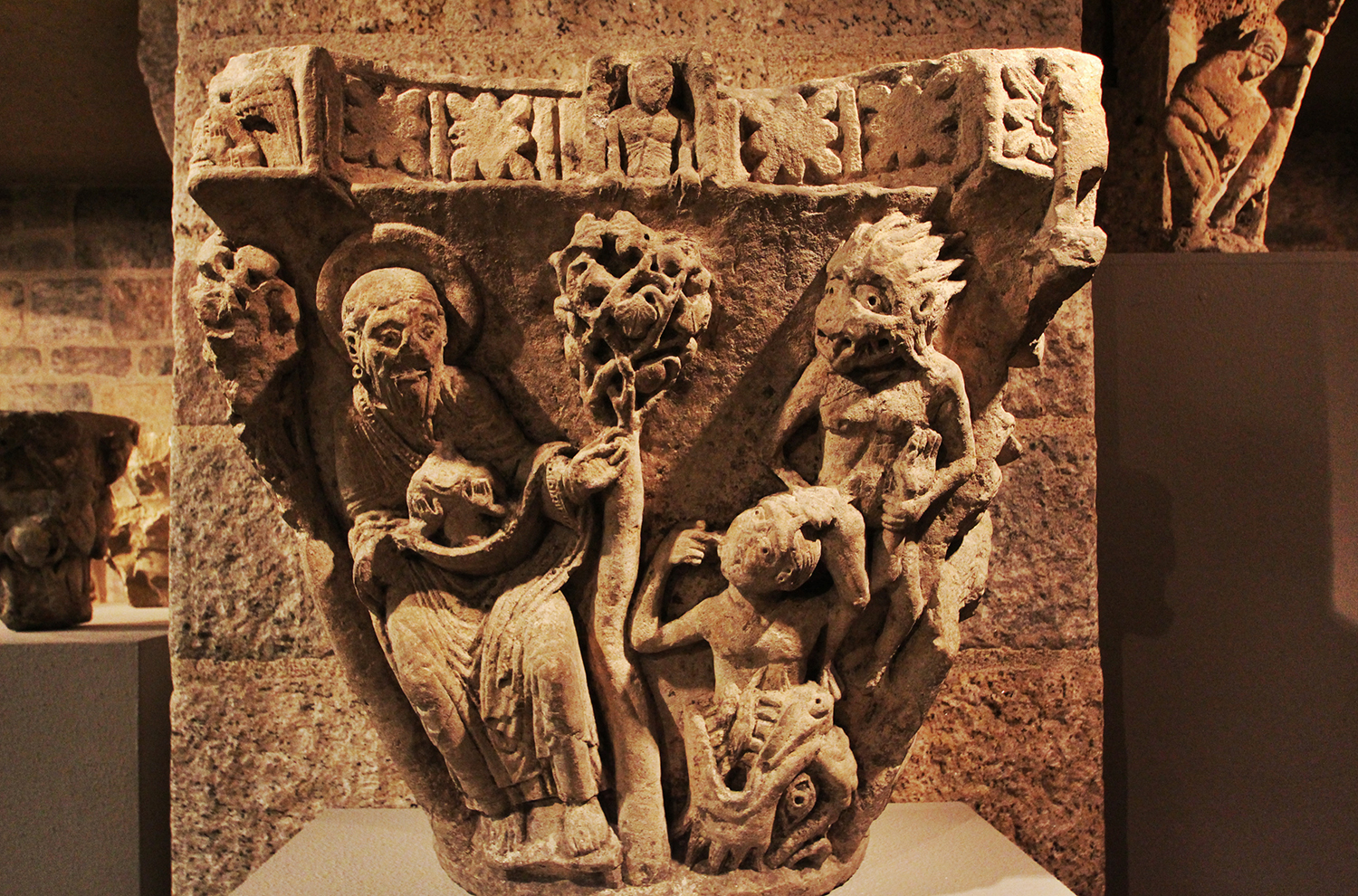 A 12-century capital in Glencairn's Medieval Gallery illustrates the biblical story of Lazarus and the rich man (09.jSP.94).