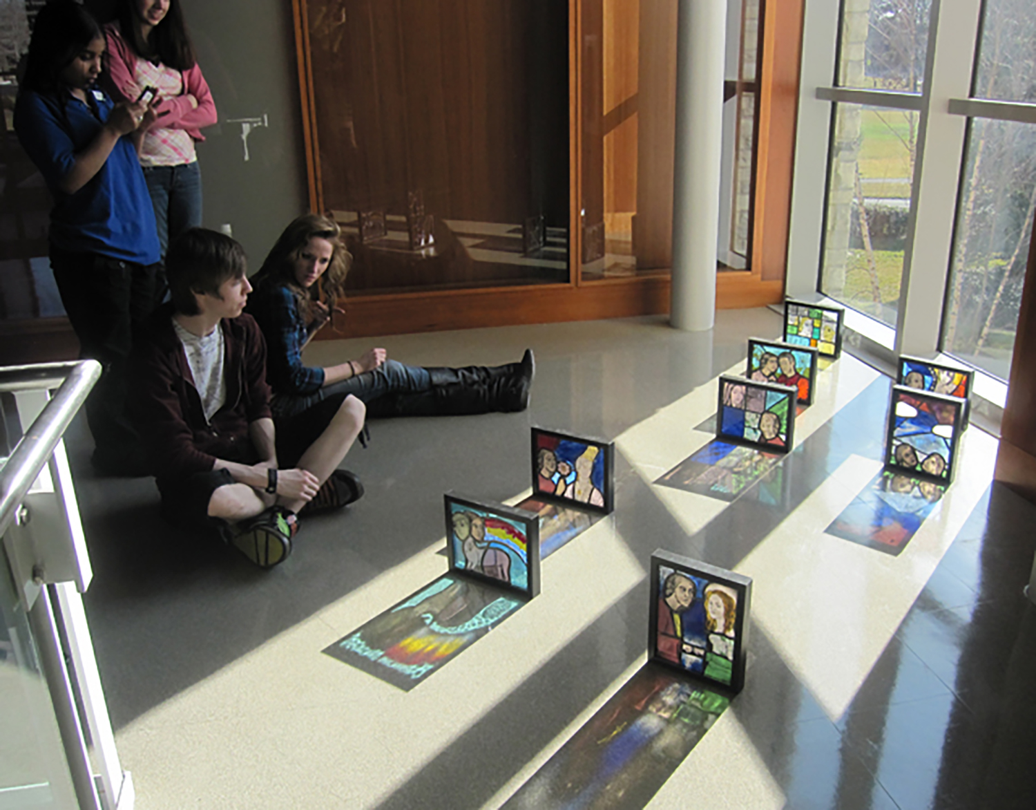 Figure 3: Bryn Athyn College students with their class projects.