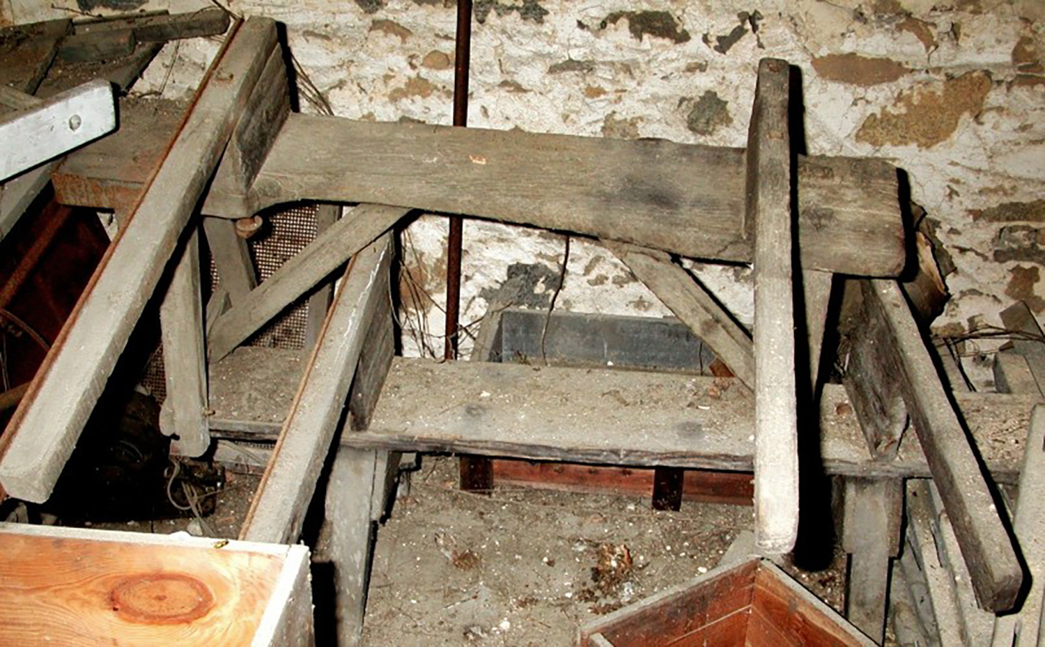 Figure 4: These glassblowing benches were discovered in an old barn on the Glencairn property.