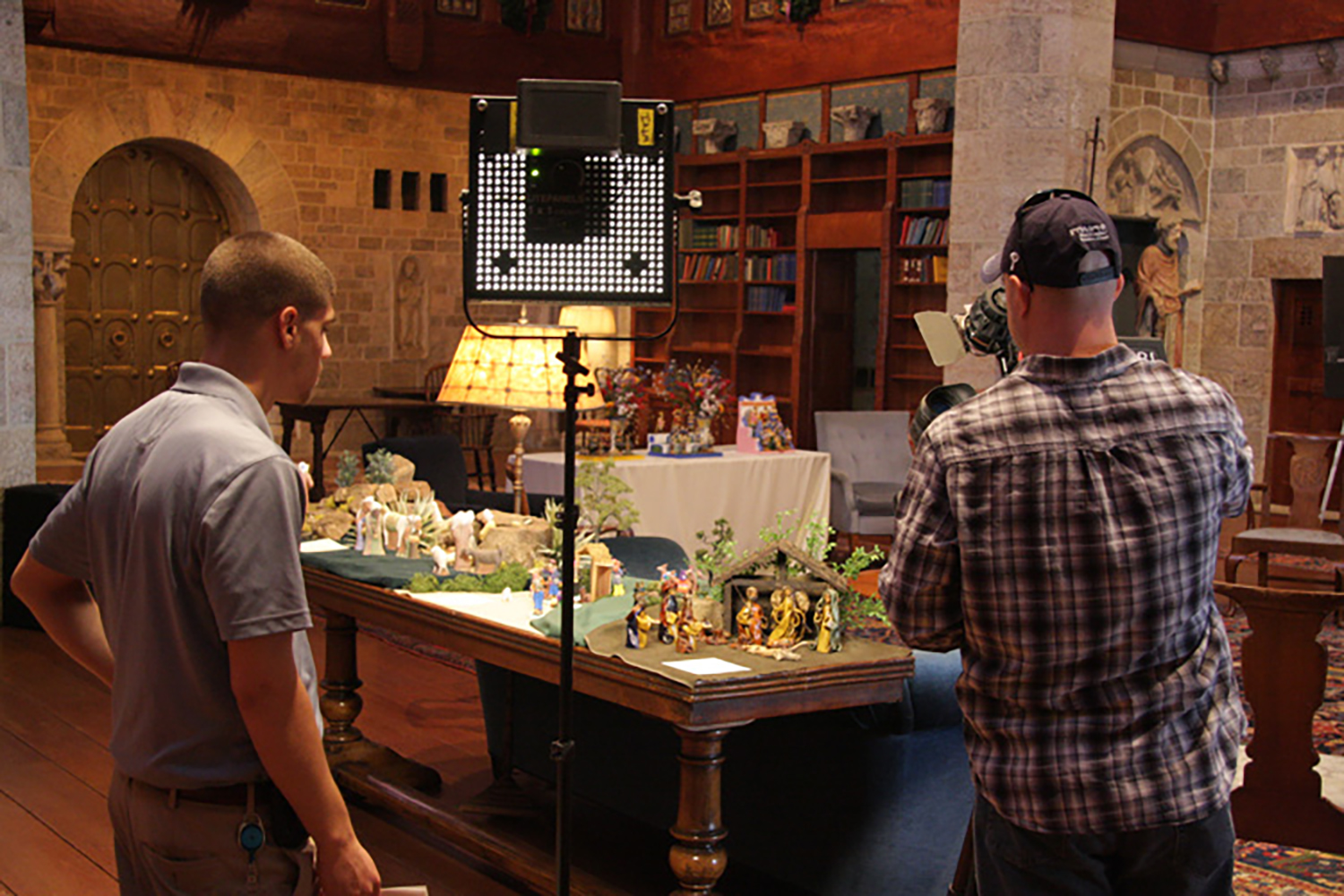 "Figure 3: ABC's Channel 6 ""FYI Philly"" crew filming in Glencairn's Great Hall."