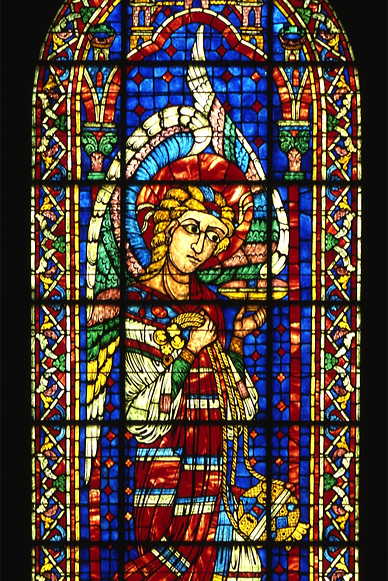 """Angel with Censer"" window on the north wall of Glencairn's Great Hall."