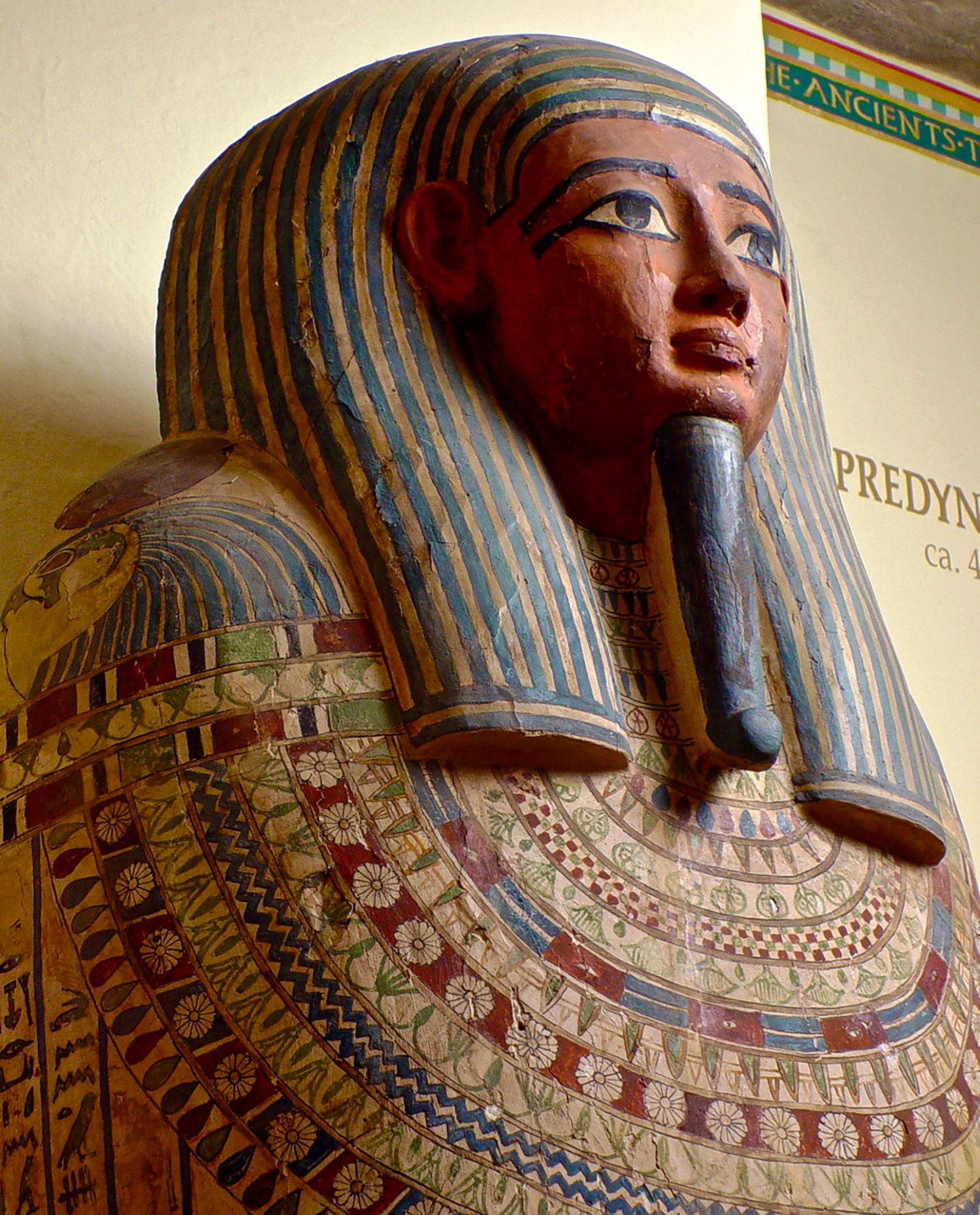 Human-shaped coffin made for Sema-ir-dis, who is shown wearing the beard of Osiris, Ruler of the Netherworld.