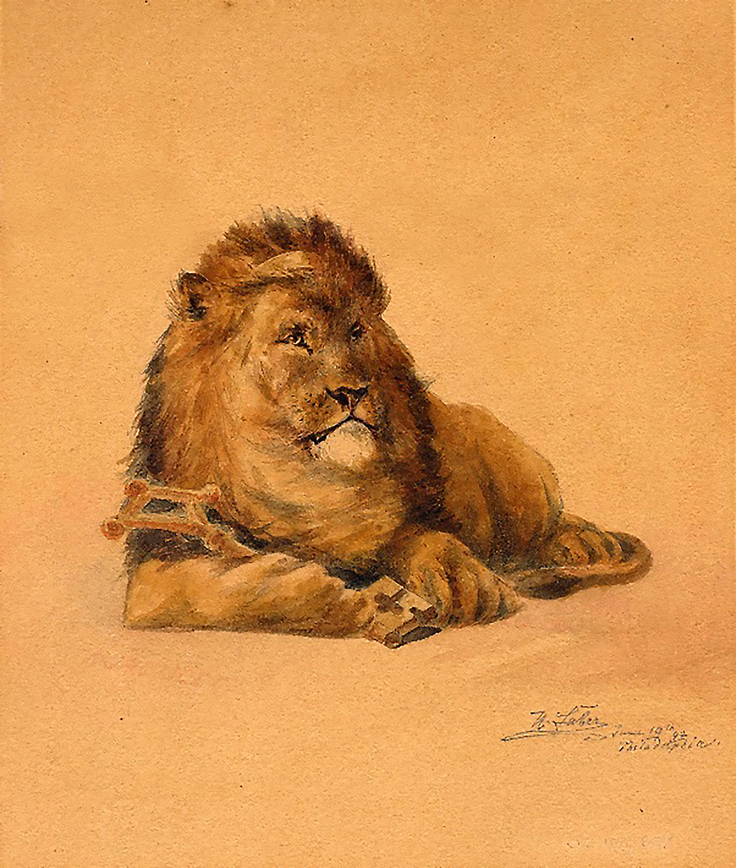 "Figure 9: This painting of the Academy lion, produced by Herman Faber, is signed ""H. Faber, June 19th, '92, Philadelphia."""