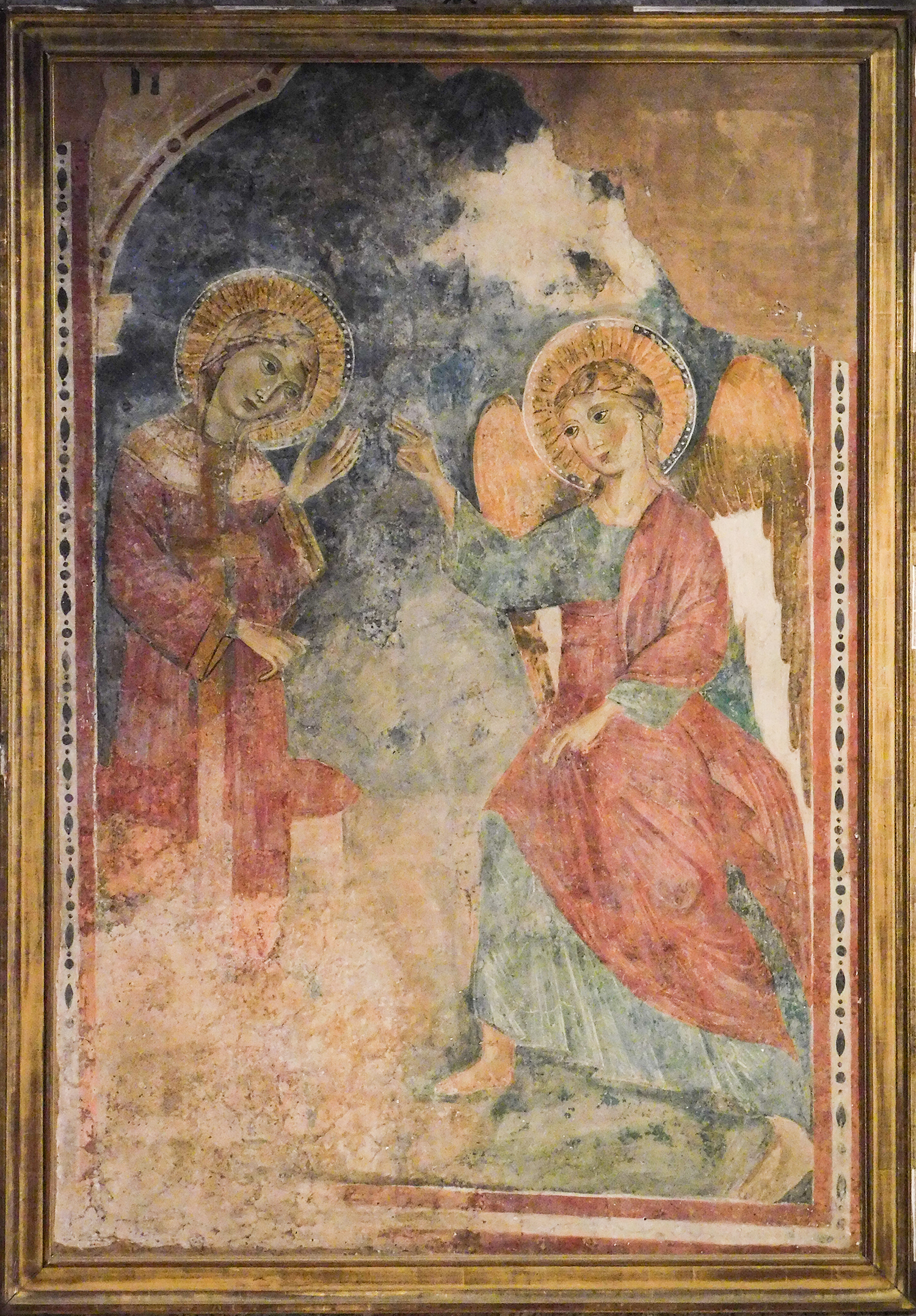 Figure 7.  The Annunciation , detached fresco by an unknown artist, c. 1300, originally from the Clarissan monastery of Santa Maria inter Angelos, near Spoleto, Italy. Now Glencairn Museum number 08.FS.07. Photograph by Jonathan Kline.