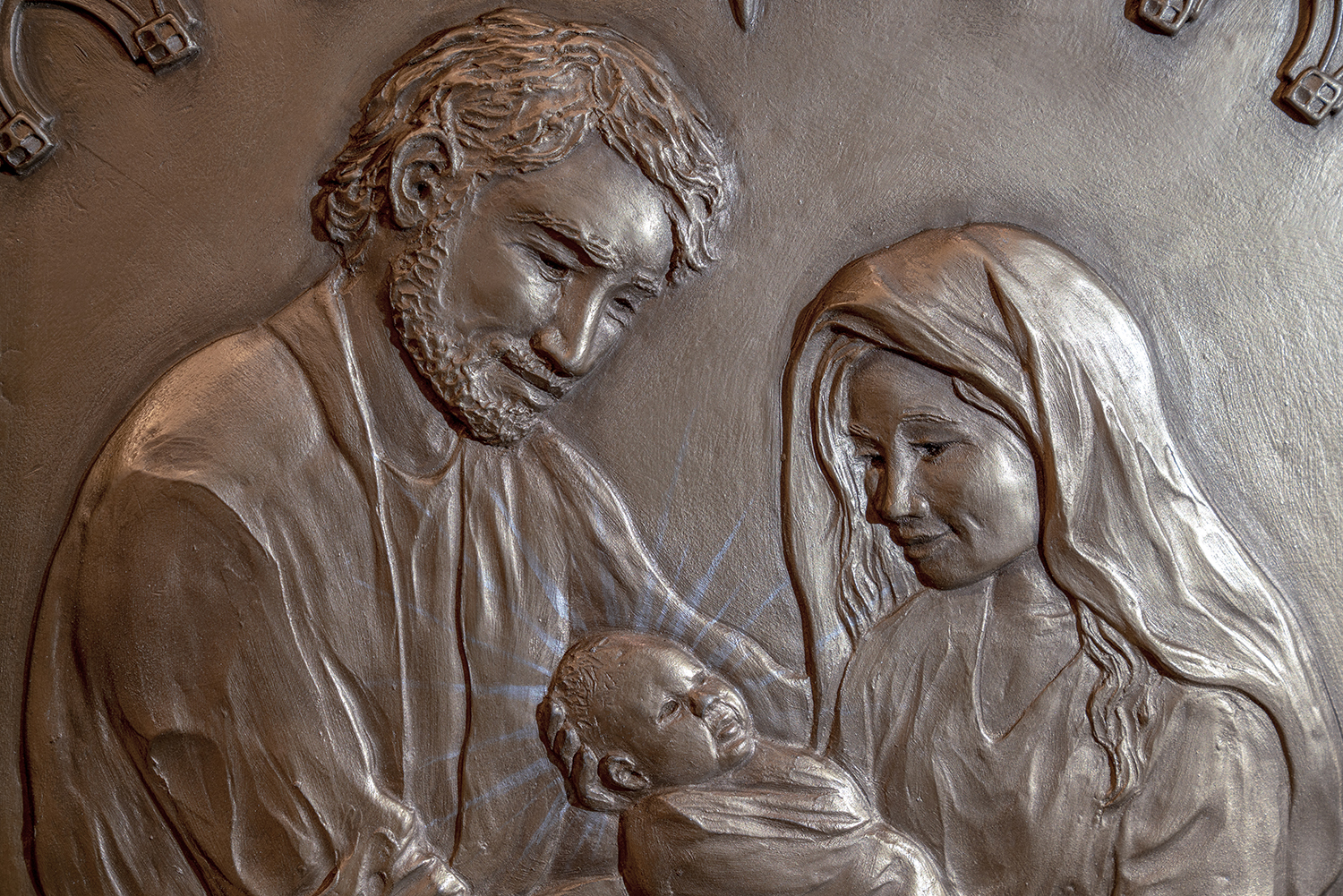Figure 2: Joseph, Mary, and Jesus. Detail of Nativity triptych pictured in lead photo, by Christina Orthwein, 2018.