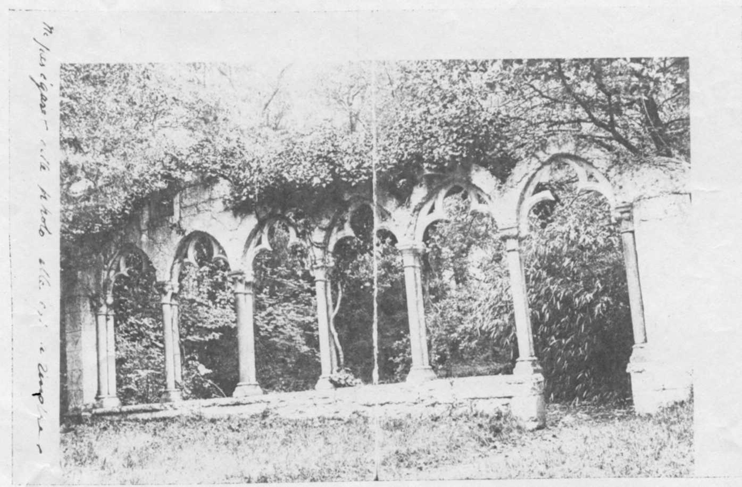 Figure 12: Front and back of photograph in Glencairn Museum Archives sent in March 1922 to Raymond Pitcairn from the dealer Joseph Brummer. The arches, from a fourteenth-century cloister, were later sold to John Hays Hammond, Jr. (See Figure 13.)