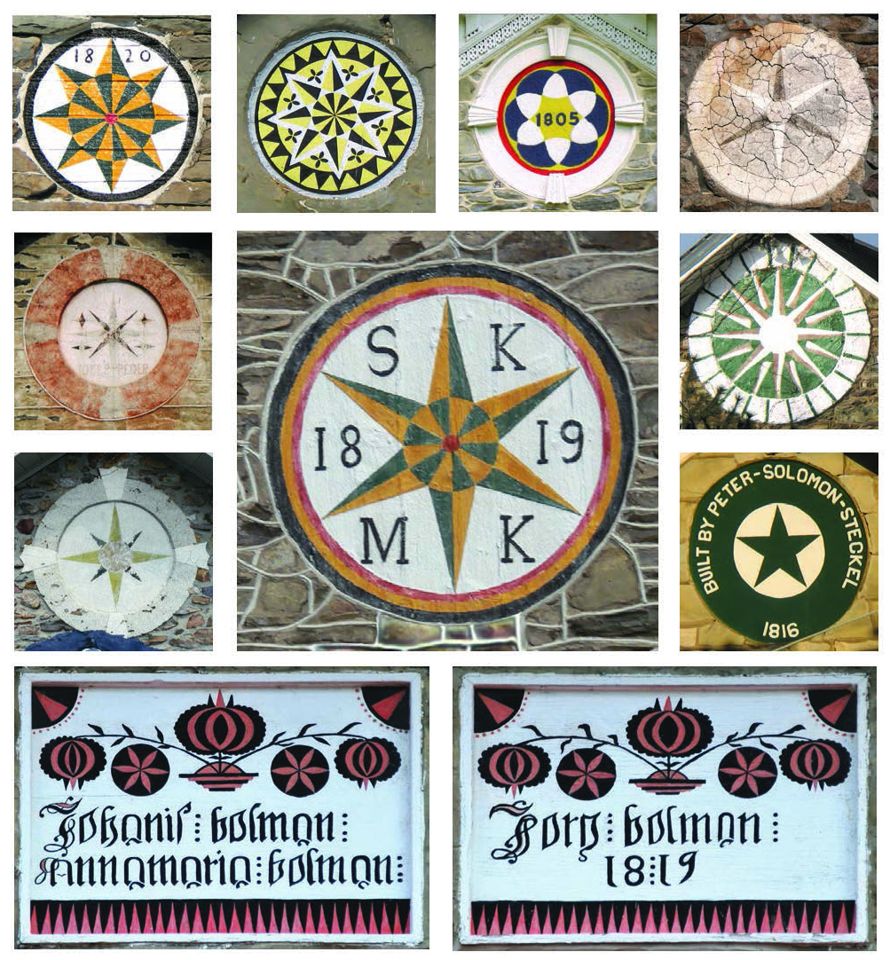 Figure 18: Above (clockwise from the top left): A spread of circular house and barn blessing plaques—An 1820 barn star from Perry Township, Berks County; an elaborate star from the 1801 Isaac Bieber Homestead, near Kutztown, Maxatawny Township, Berks County; an 1805 star on a Georgian farmhouse, Oley Valley, Berks County; a six-pointed star in plaster on a mill in Northern Lehigh County; a sixteen-pointed star painted on a plaster farmhouse medallion, ca. 1780, Upper Frederick Township, Montgomery County; 1816 Peter Solomon Steckel House, Egypt, North Whitehall Township, Lehigh County; 1819 barn star on the Kistler barn, Greenwich Township, Berks County; an eight-pointed star in plaster on a farmhouse in Upper Macungie, Lehigh County; 1813 Joseph Peter barn, Washington Township, Lehigh County. Bottom: Paired house blessings painted on wooden plaques on the 1819 farmhouse of Johannes and Anna Maria Bolman, and their son Jorg Bolman, Millcreek Township, Lebanon County. Courtesy of Patrick J. Donmoyer.