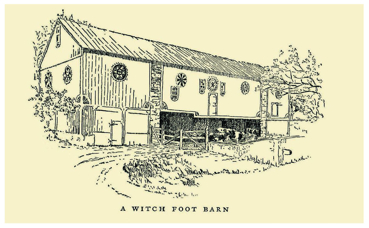 "Figure 40: Wallace Nutting's  Pennsylvania Beautiful (1924) featured original pen and ink drawings of decorated barns, such as this one located in Earl Township, Berks County. This one bears his original caption connected with the misguided notion of the "" Hexafoos "" as a dialect word for ""Witch's Foot""—a term that was never embraced by the Pennsylvania Dutch. Pennsylvania German Cultural Heritage Center, Kutztown University."