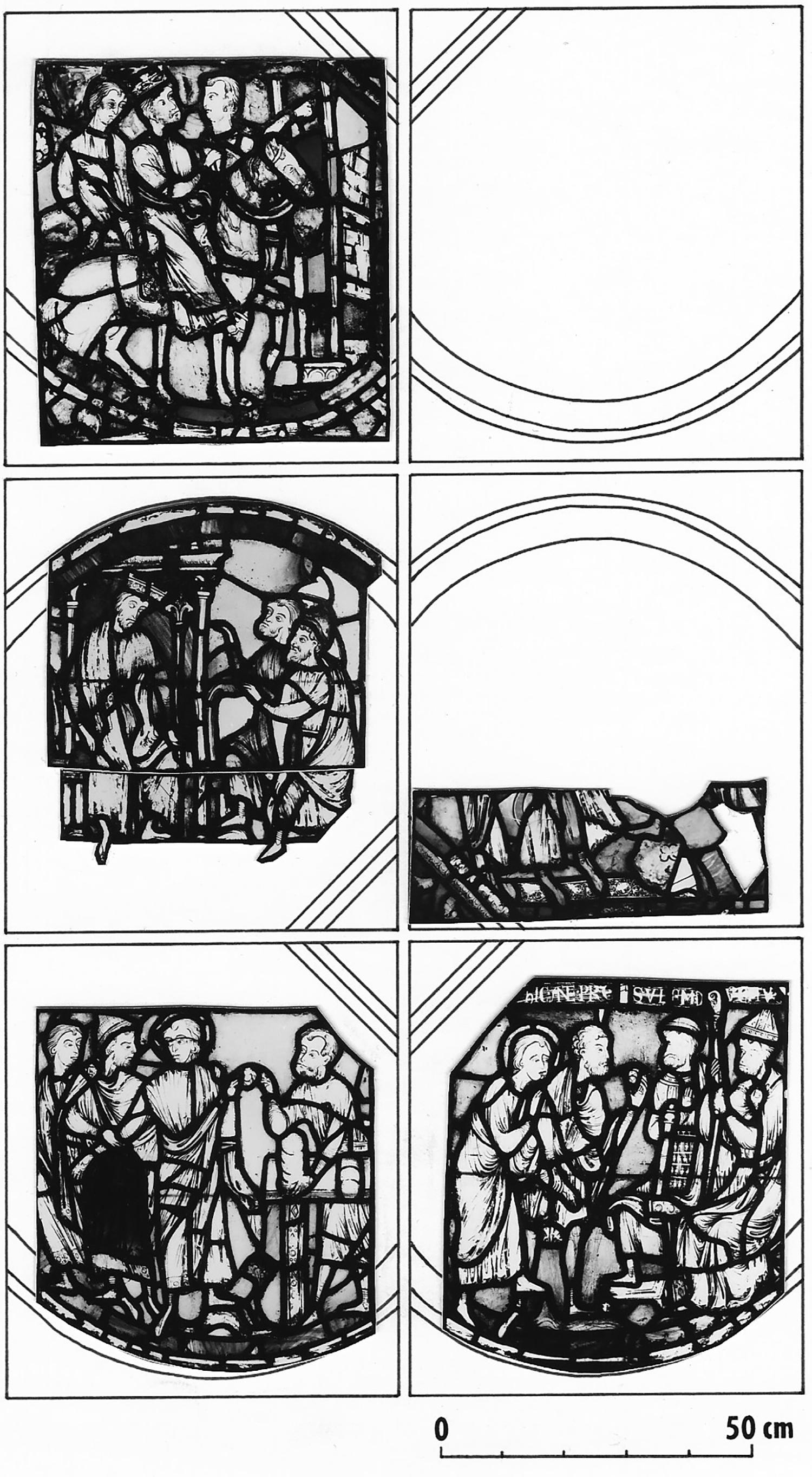 Figure 6: A reconstruction of three registers of the Seven Sleepers window, giving a sense of its overall design and showing the placement within it of the four panels from the window that are now in American collections.