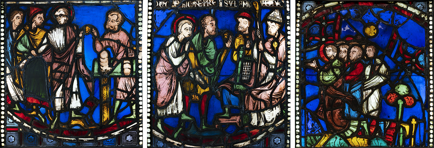 Figure 1: Three panels of stained glass from the cathedral of Rouen, purchased by Raymond Pitcairn at the sale of the Henry C. Lawrence Collection in 1921. Glencairn Museum, 03.SG.49 (left), Glencairn Museum, 03.SG.51 (center), Glencairn Museum, 03.SG.52 (right).