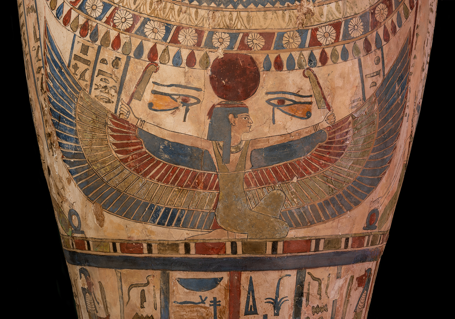 Figure 12: Images of goddesses with outstretched wings frequently decorate the lids of coffins. These images offered protection to the deceased. The goddess Nut is shown on the coffin of Sema-tawy-iirdis.