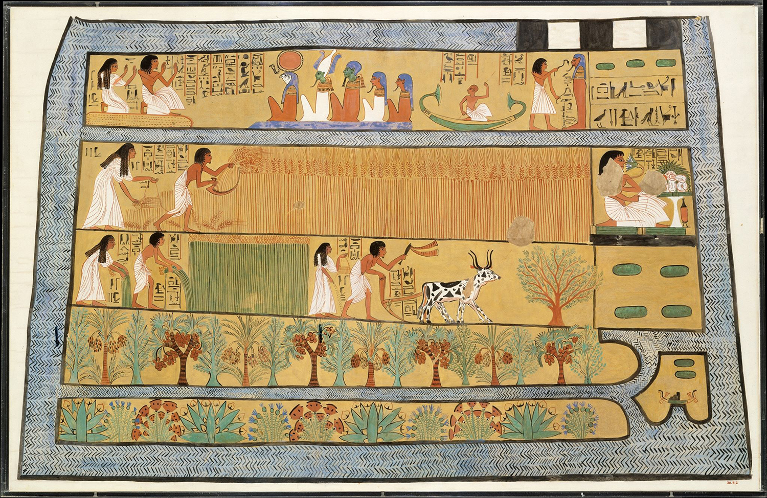 Figure 28: Painted facsimile of the decoration on the east wall of the tomb of Sennedjem. In this scene, Sennedjem and his wife carry out agricultural tasks in the afterlife. Sennedjem lived during Egypt's 19th Dynasty (ca. 1295-1213 BCE). Image courtesy of the Metropolitan Museum of Art, NYC. Painting by Charles K. Wilkinson, accession number 30.4.2.