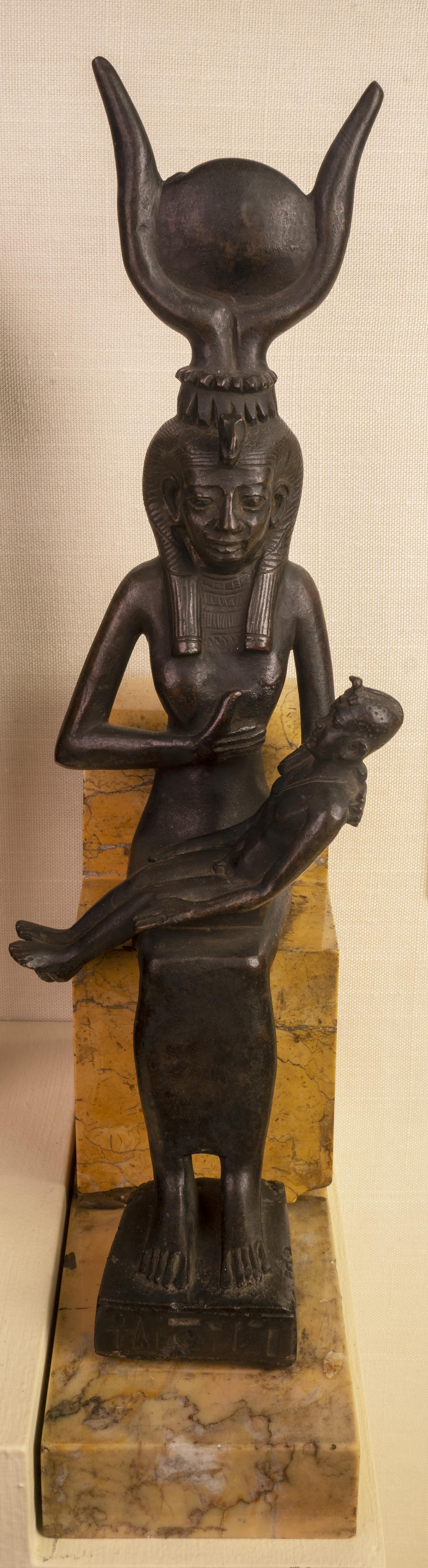 Figure 6: Bronze votive statuette of Isis and Horus (E1164).