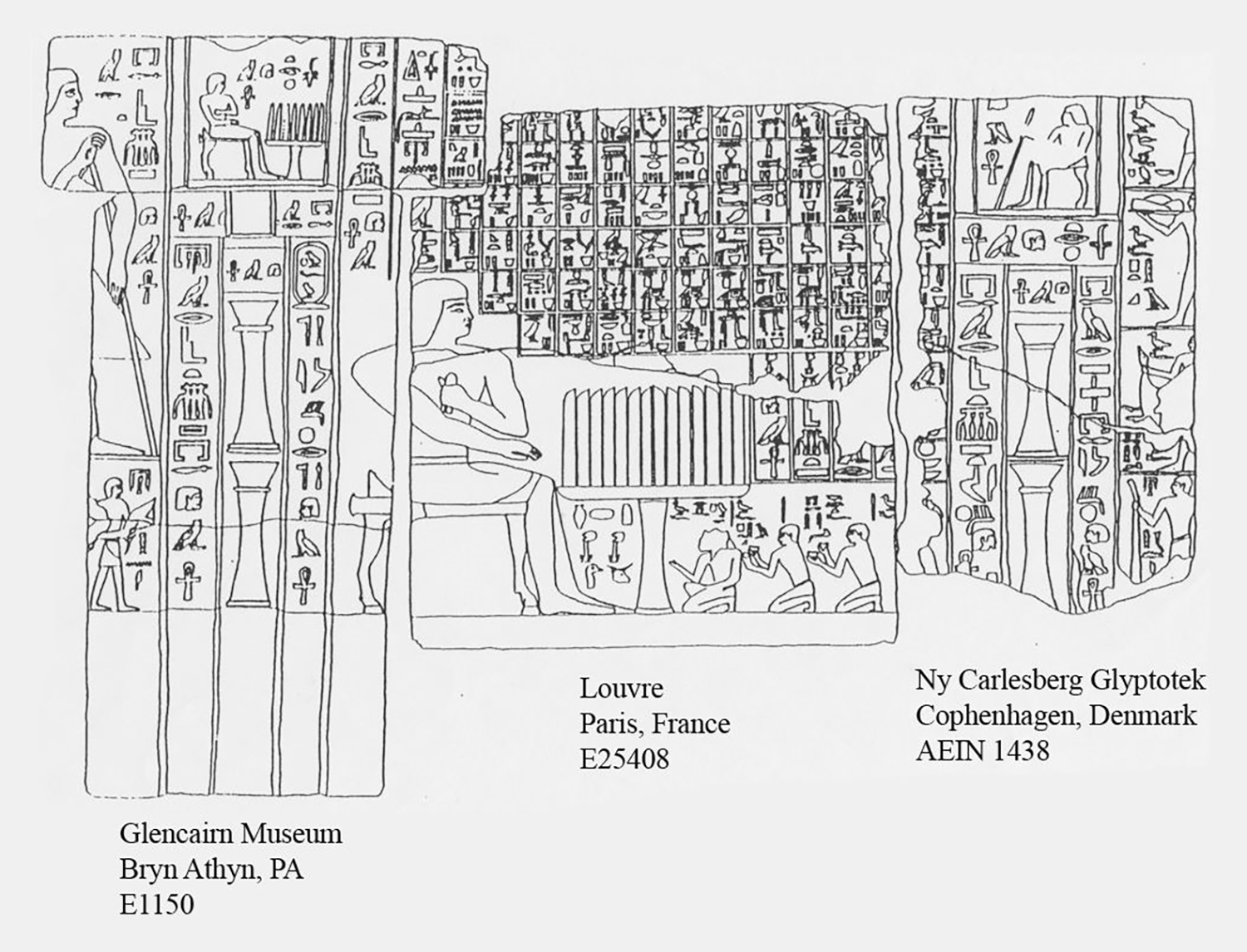 Figure 21: The false door relief of Tempemankh (left, E1150), on exhibit in Glencairn's Egyptian Galley, joins to pieces in other museums. This line drawing shows the placement of the various relief fragments from Tepemankh's tomb.