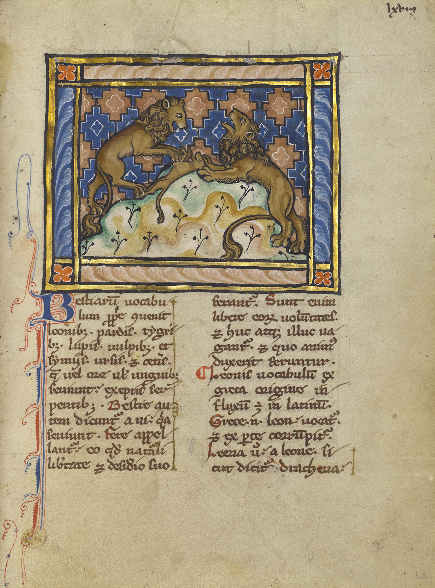 Figure 6: Two Lions, about 1270. Tempera colors, gold leaf, and ink on parchment. The J. Paul Getty Museum, Los Angeles, Ms. Ludwig XV 3 (83.MR.173), fol. 68.