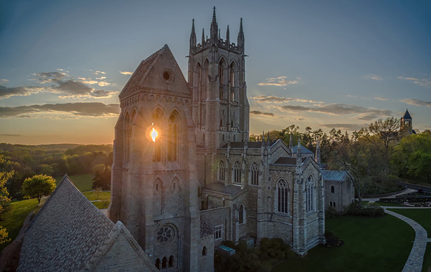 Figure 3: Aerial view of Bryn Athyn Cathedral. Photograph by Brent Schnarr.