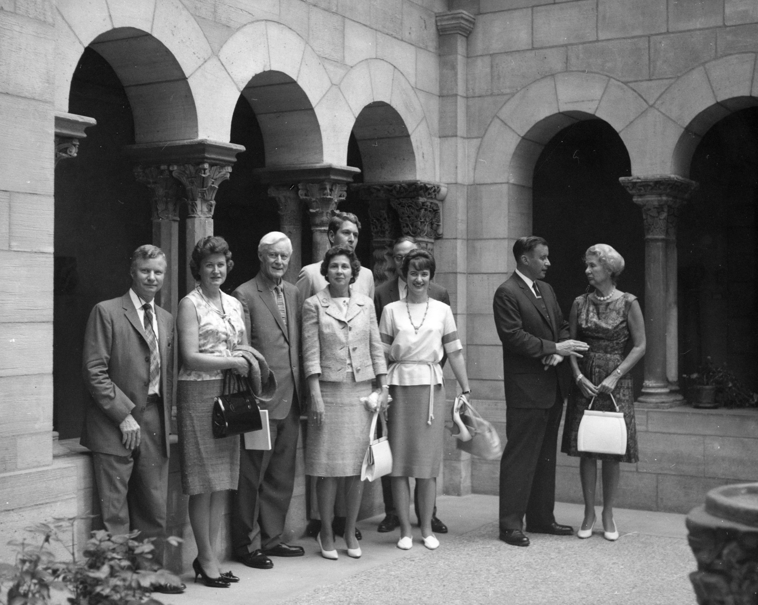 Figure 8: In July of 1965, members of the Raymond and Mildred Pitcairn family visited The Cloisters: (l-r) Michael Pitcairn, Bethel Pitcairn, Raymond Pitcairn, Geneva Crockett Pitcairn, Vera Pitcairn Junge, (directly behind them) Thomas Miller, Bob Junge, Lachlan Pitcairn, Gabriele Pitcairn Pendleton.