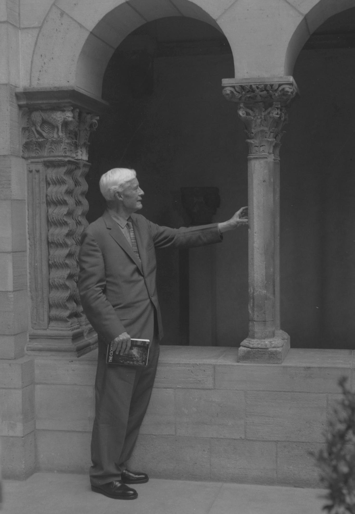 Figure 9: Raymond Pitcairn admiring a column at The Cloisters.