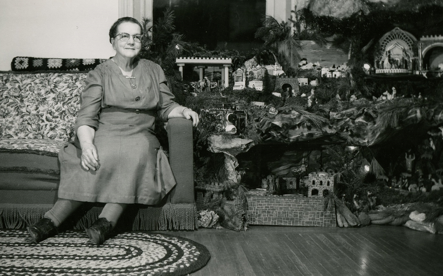Folk artist Jennie Trein (1879-1977) created her first Christmas putz in 1908, and for the next six decades she built a new one each year—complete with lights, sound effects, and narration. The Trein putz, which grew to include over 1000 pieces, was part of the Advent season for generations of visitors who were invited into her living room to view the display.