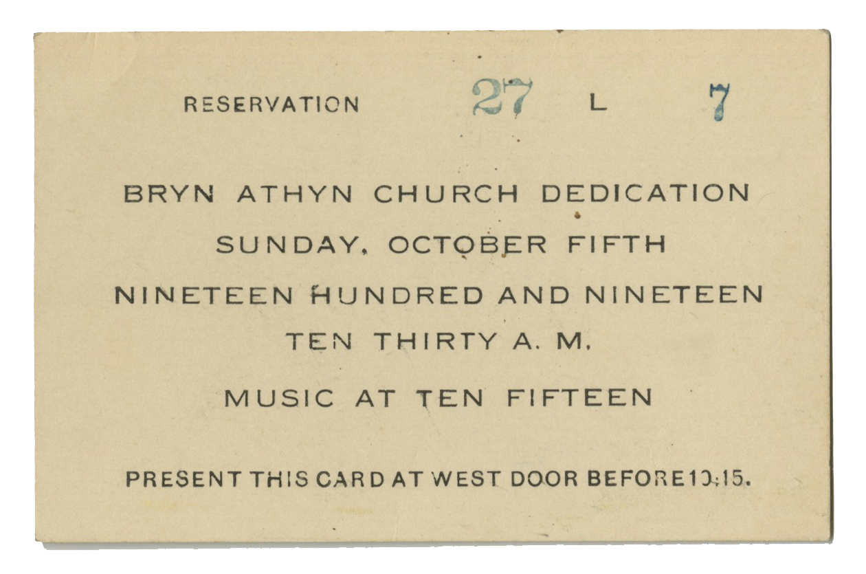 Figure 1: Bryn Athyn Cathedral dedication service reservation cards were distributed before the event. Entrance was through the west door.