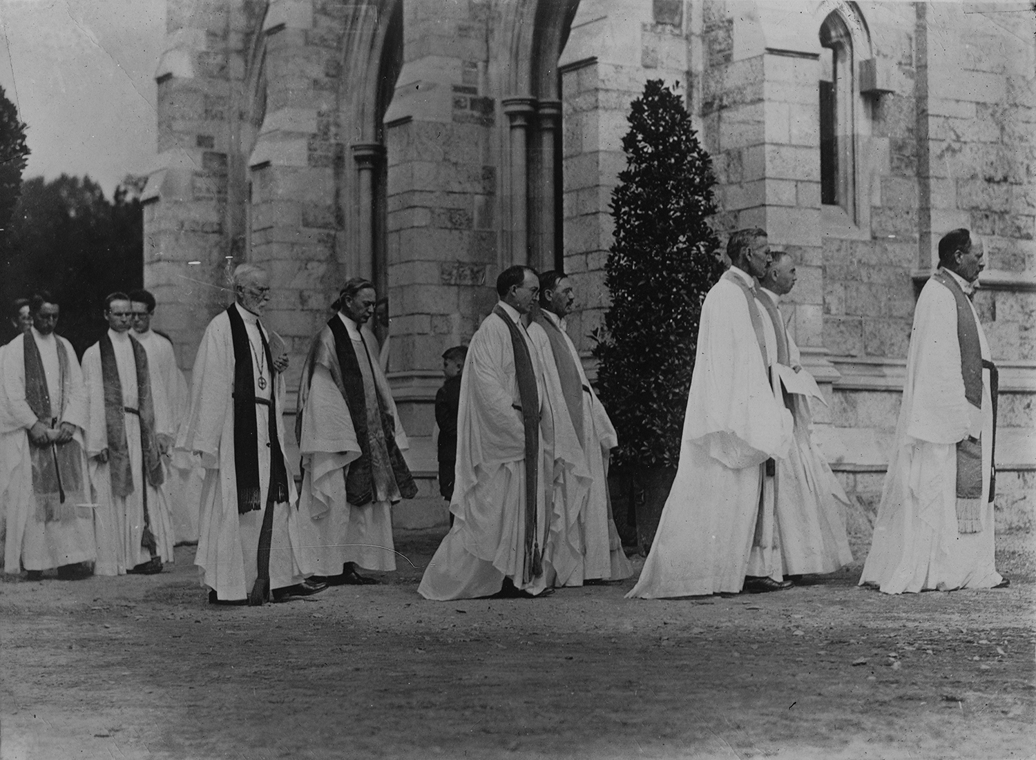 Figure 4: The procession of ministers outside the west door of Bryn Athyn Cathedral. This photo likely shows the procession leaving the church at the end of the service.