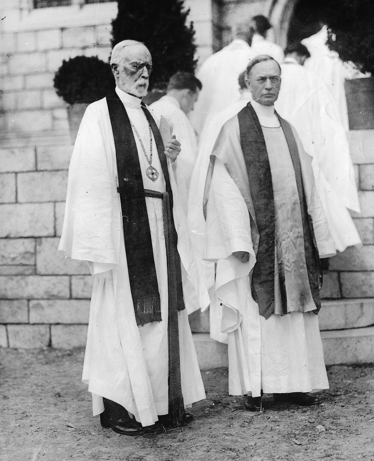 Figure 8: Bishop Emeritus William F. Pendleton (left) stands beside his brother, Bishop Nathaniel D. Pendleton, on dedication day.