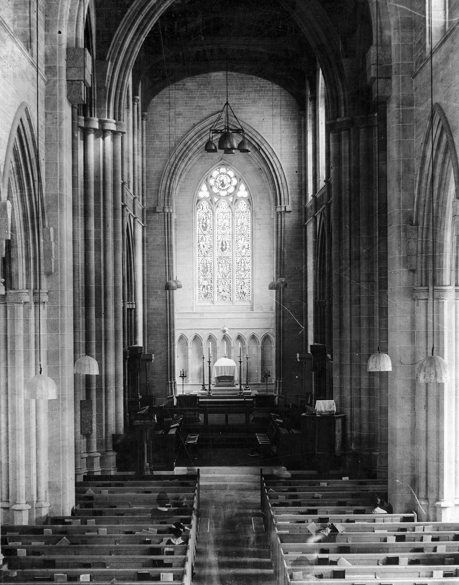 Figure 9: The interior of Bryn Athyn Cathedral on October 5, 1919. (In the early days of photography pictures were often taken using long exposures.)