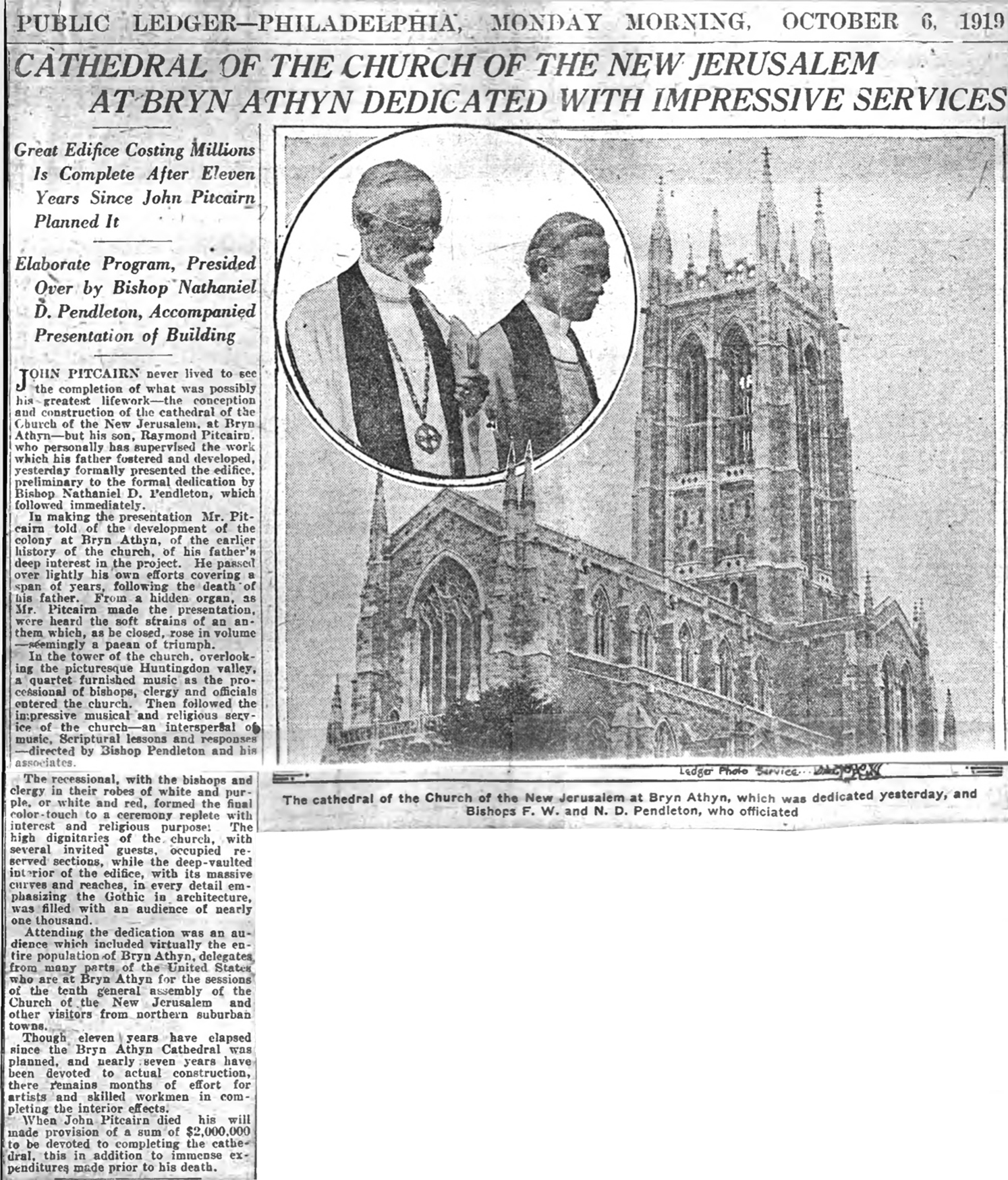 Figure 12:  Public Ledger  article from October 6, 1919, featuring a photograph of the newly dedicated Cathedral and an inset photograph of Bishop Emeritus William F. Pendleton and Bishop Nathaniel D. Pendleton.