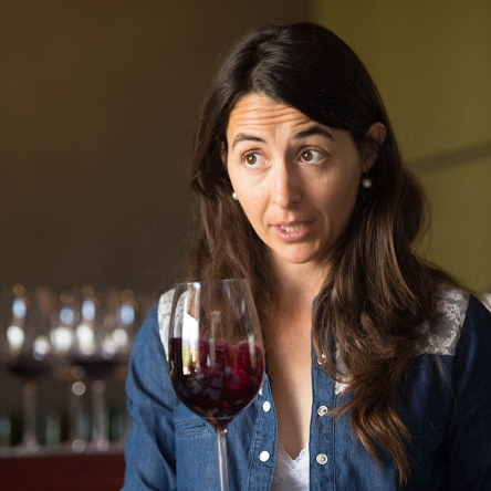 Mariana Onofri, Wine Director providing information during a tasting.  Vina Andrico vineyard in Mendoza, Argentina.