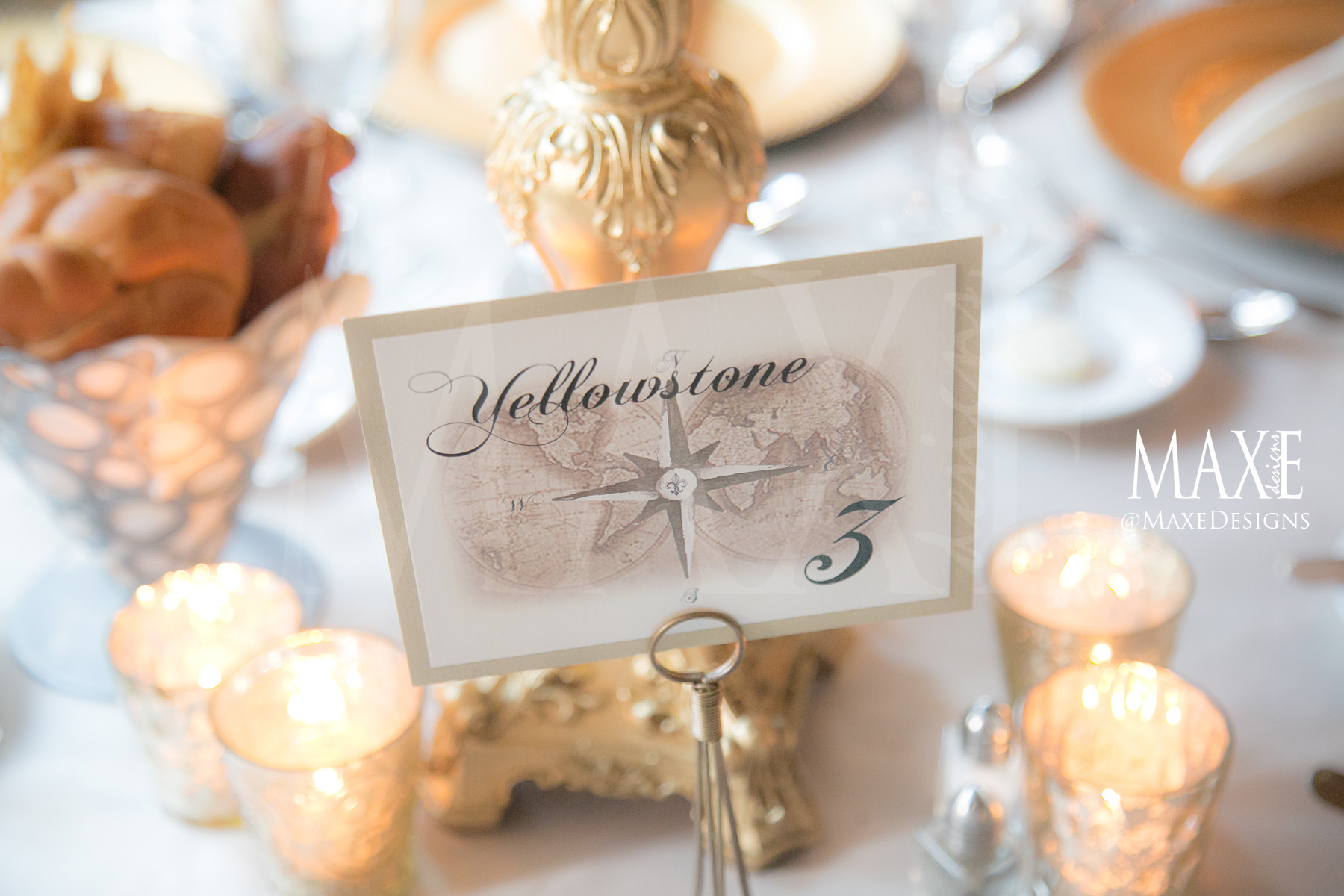 Kirsten & Dan complemented their décor with table numbers including their favorite vacation destinations.
