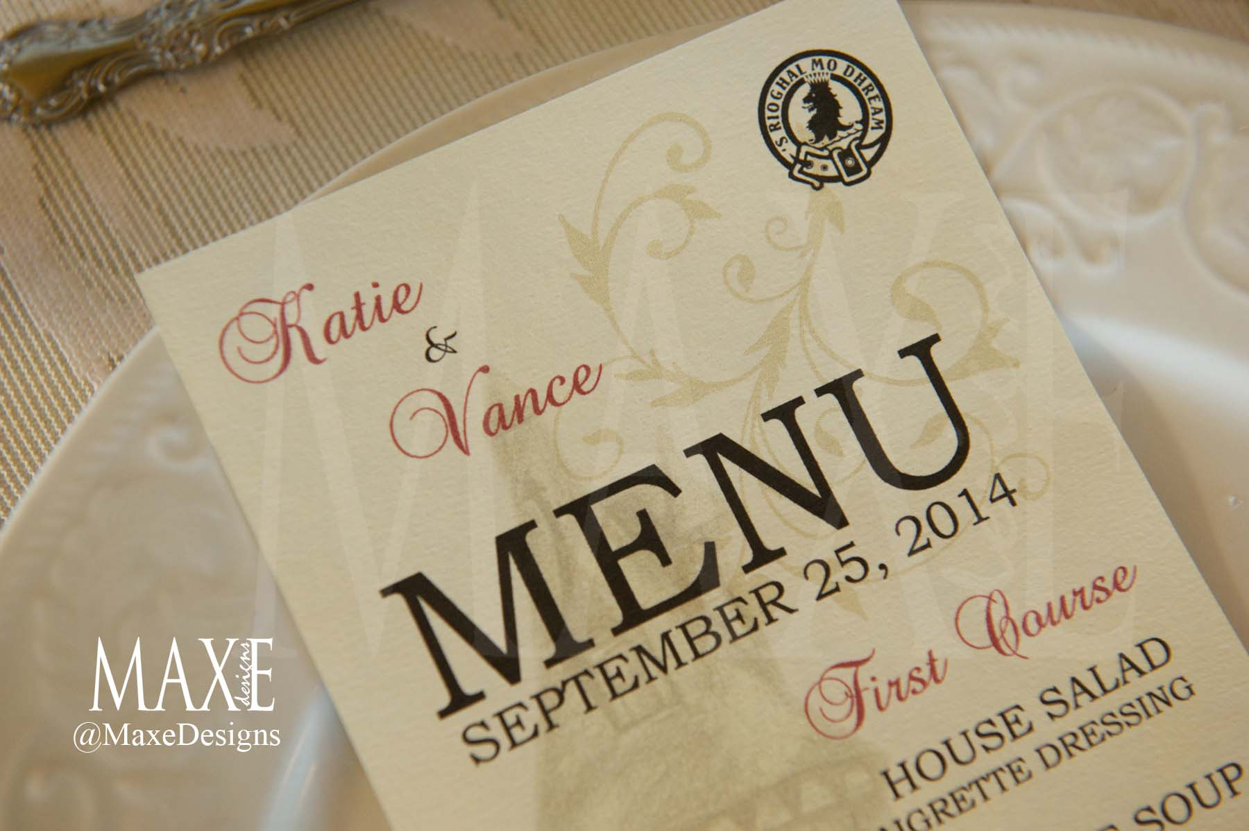 Katie & Vance's menu continued to complement their castle sketch and family crest with red and gold accents on a beautiful deckled edge paper. Gorgeous!