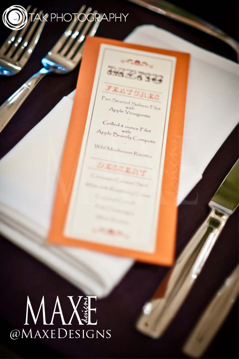 Marc & Allison's fall wedding reception was complete with their gorgeous custom menu design.