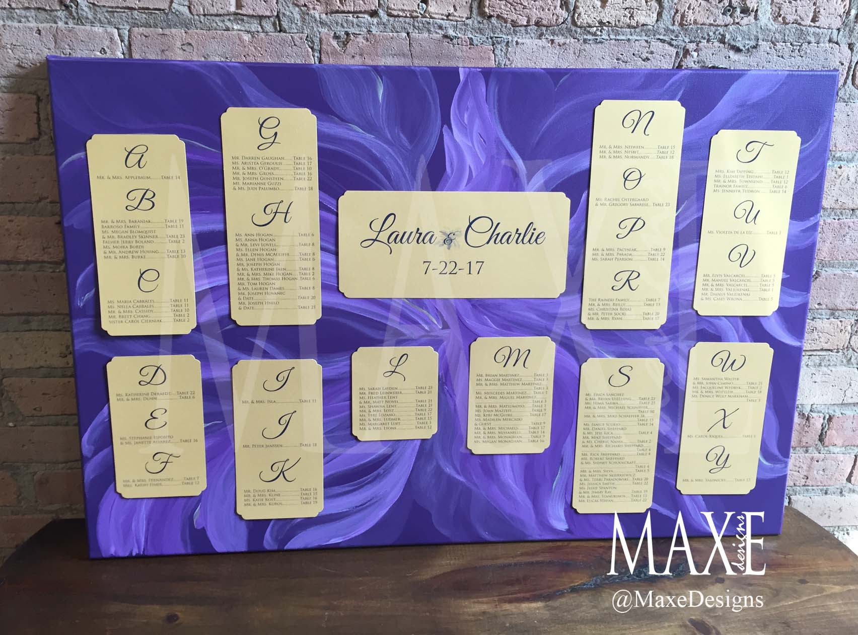 Laura & Charlie's Custom Canvas Art Seating Chart now hangs in their house after the seating chart itself was removed. Yay!