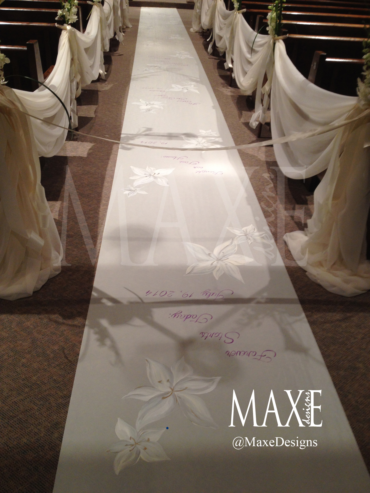 Lindsay & Craig's hand painted aisle runner that shared their special milestones leading up to their wedding day.