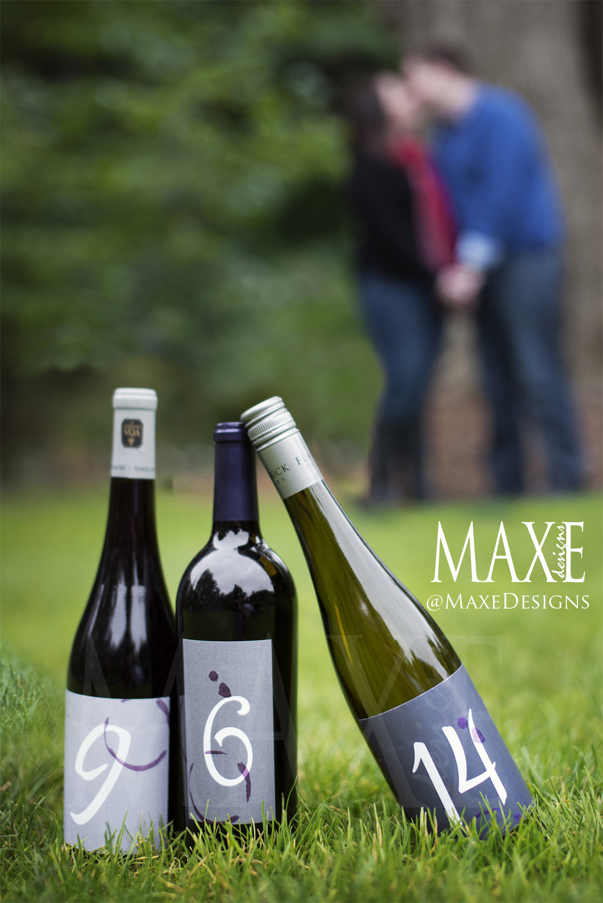 Custom wine labels were created for Samantha & Nick's engagement photos for use on their One-of-a-Kind Save the Dates!