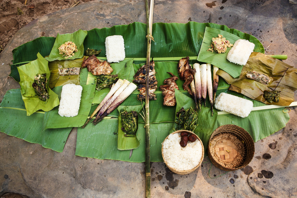 northern-laos-phongsali-nam-khan-food-meal-spread-on-bamboo-leaf-tiger-trail-photo-by-cyril-eberle