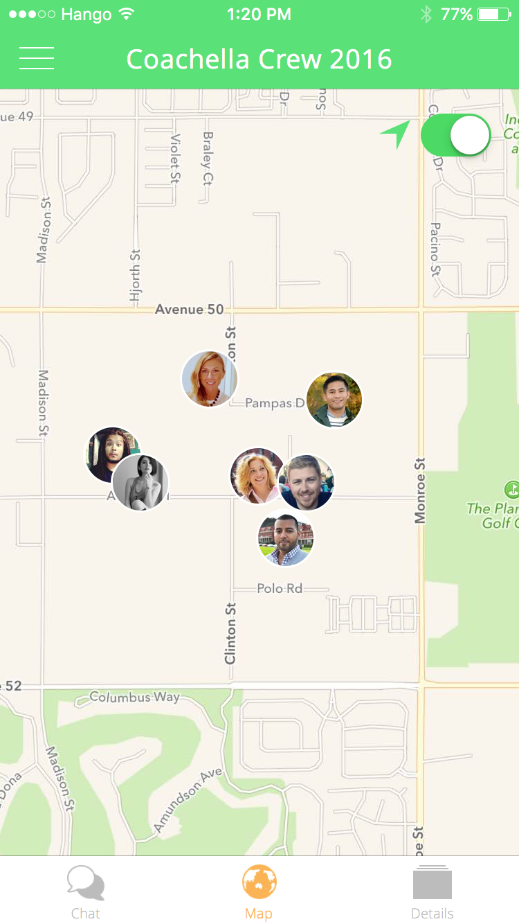 Hango Map   Find your friends at the festival.