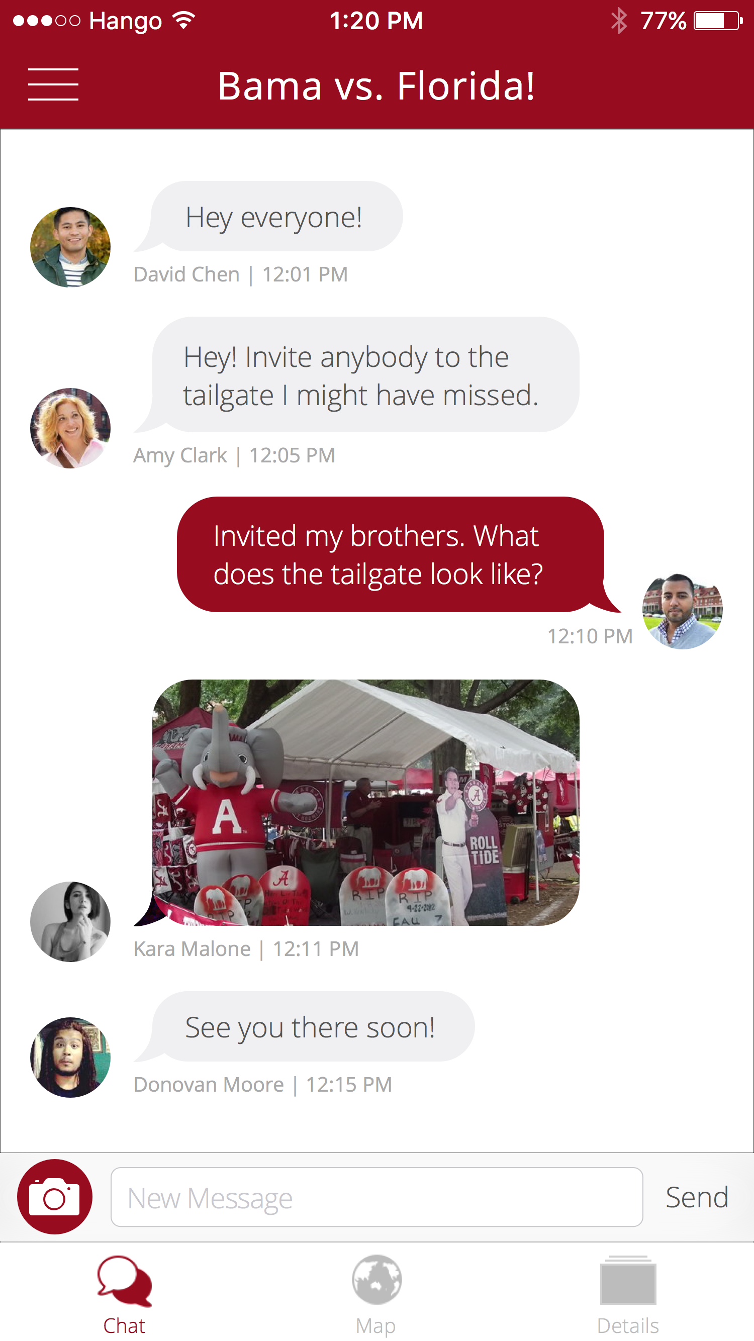 Hango Chat   Chat with your group of tailgaters at each game and share photos and videos.