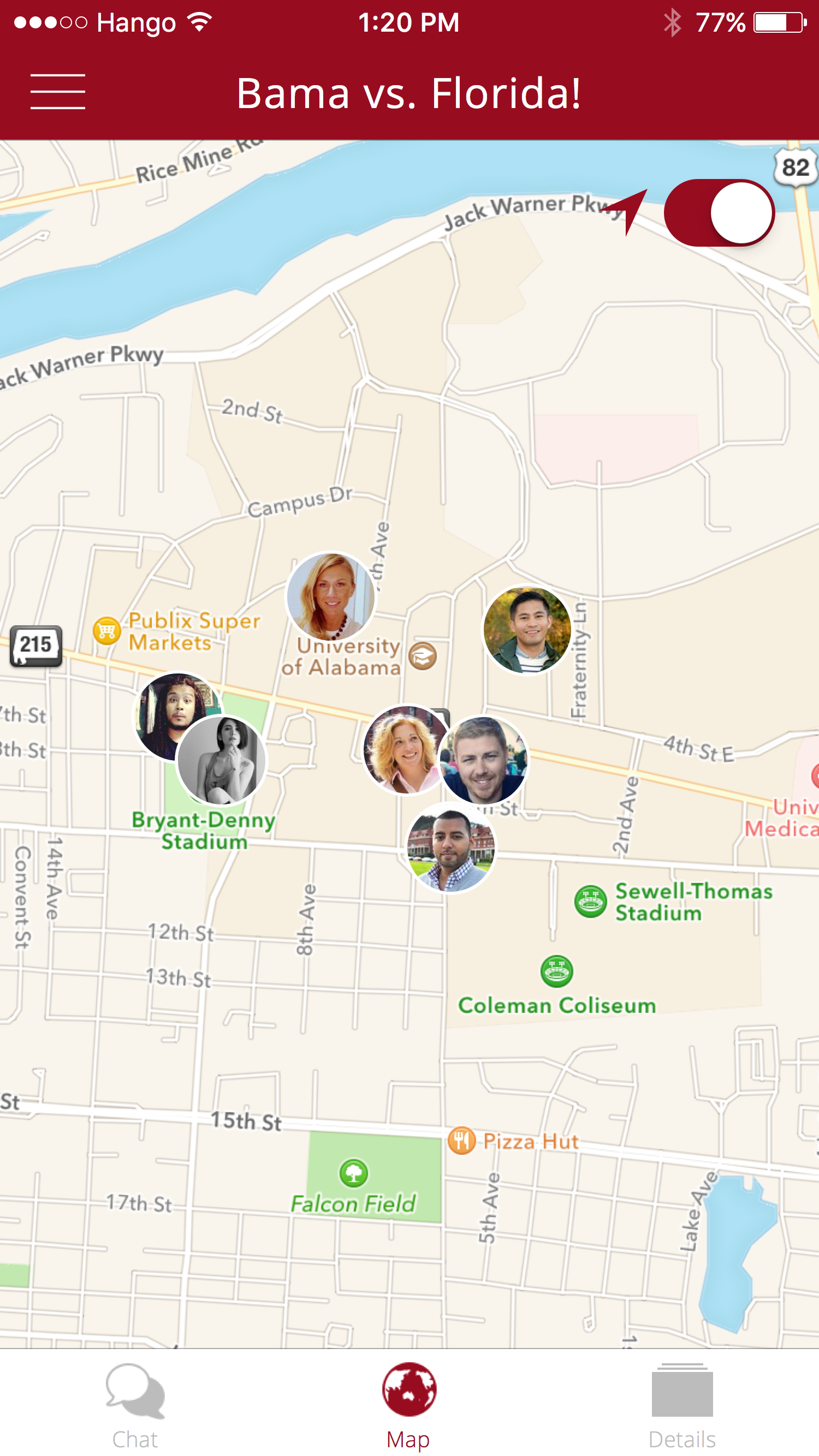 Hango Map   Find your friends at the tailgate.