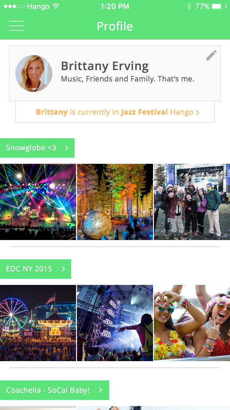 Hango Profile   Relive all your past festivals and view photos and videos from you and all your friends.