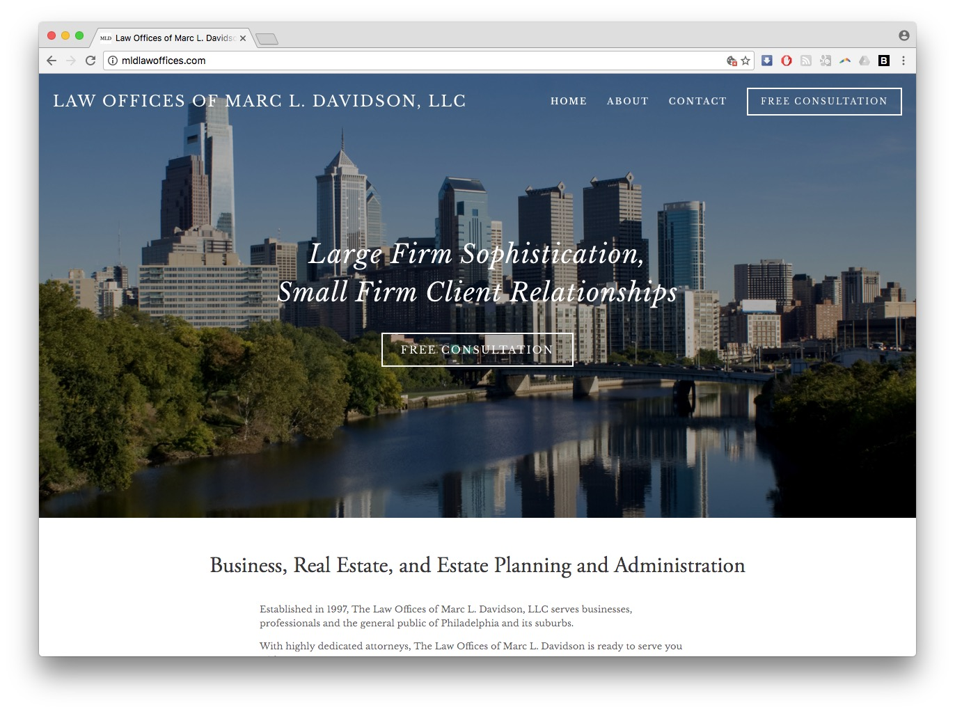 law offices of marc davidson web design squarespace legal lawyer homepage screenshot