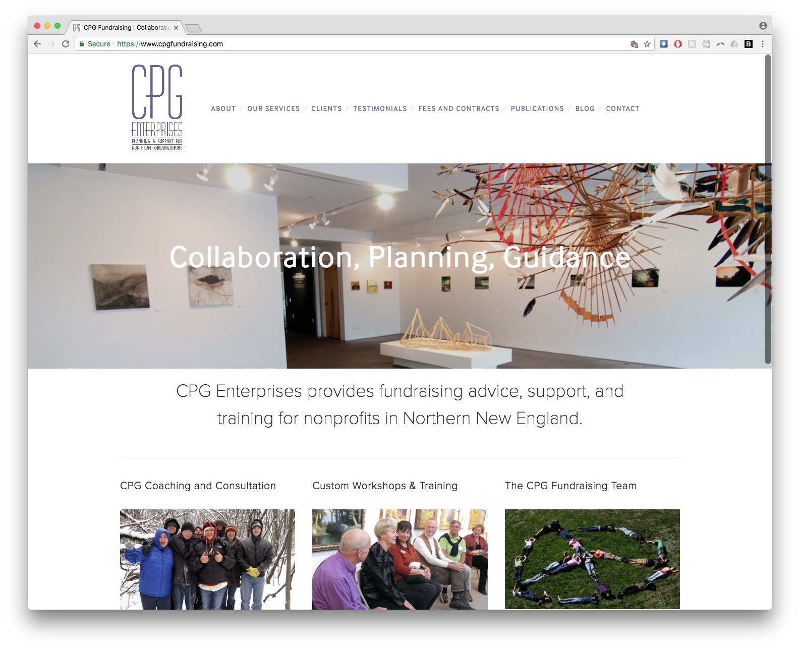 cpg fundraising homepage screen shot website burlington vermont squarespace