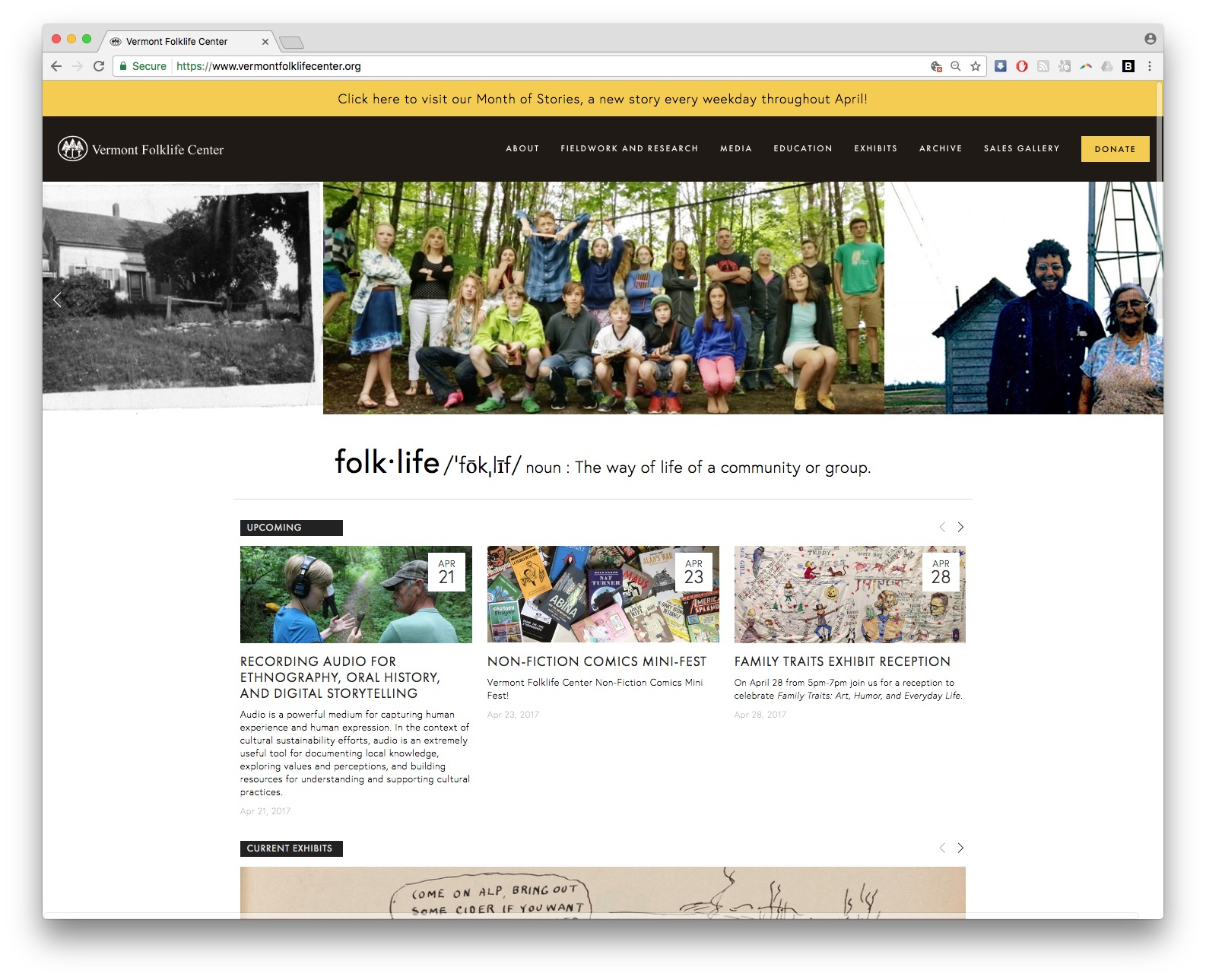 vermont folklife center homepage screenshot web design squarespace burlington